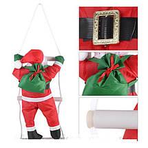 Новогодняя Игрушка Подвесной Santa Claus Декор для Дома Дед Мороз 70 см с Мешком Лезет по Лестнице, фото 3