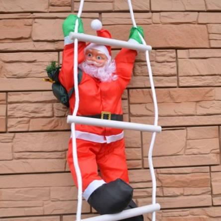 Новогодняя игрушка Подвесной Santa Декор для Дома Санта Клаус Дед Мороз 50 см с Мешком на лестнице, фото 2