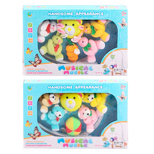 Детская карусель на кроватку с плюшевыми подвесками 286-9-10