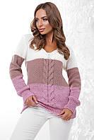 (S-L) В'язаний трьохколірний жіночий светр Orion, молочно-бузковий