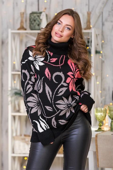 Модный вязаный свитер Вероника (черный, капучино, лен, коралл)(44-52)