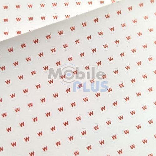 """Стикеры (пломбы) гарантийные саморазрушающиеся, круглые, диаметр 3мм, """"W"""", 1053шт на листе"""