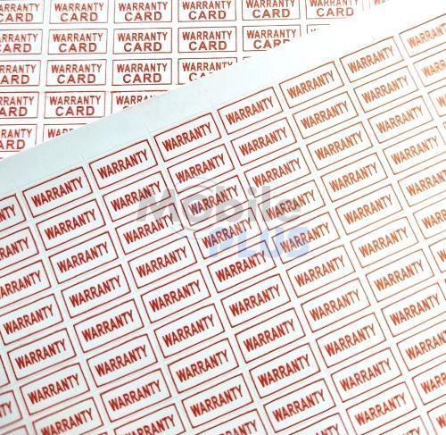 """Стикеры (пломбы) гарантийные саморазрушающиеся, прямоугольные, 5х10мм, """"WARRANTY"""", 468шт на листе"""