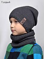 005 Шапка Нью йорк флис. от 7 лет (р.54-58см) т.синий, т.серый, черный, электрик, фото 1