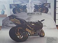 Постельное  белье полуторное хлопок с рисунком мотоцикла 3D