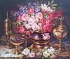 Картины художников. Живопись маслом на холсте «Натюрморт с красивыми розами»