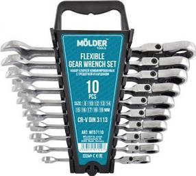 Набор ключей комбинированных с трещоткой и шарнирниром  Molder MT57110