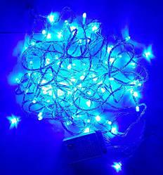 Гирлянда нить светодиодная 300 led, Синий, прозрачный провод, 21м.
