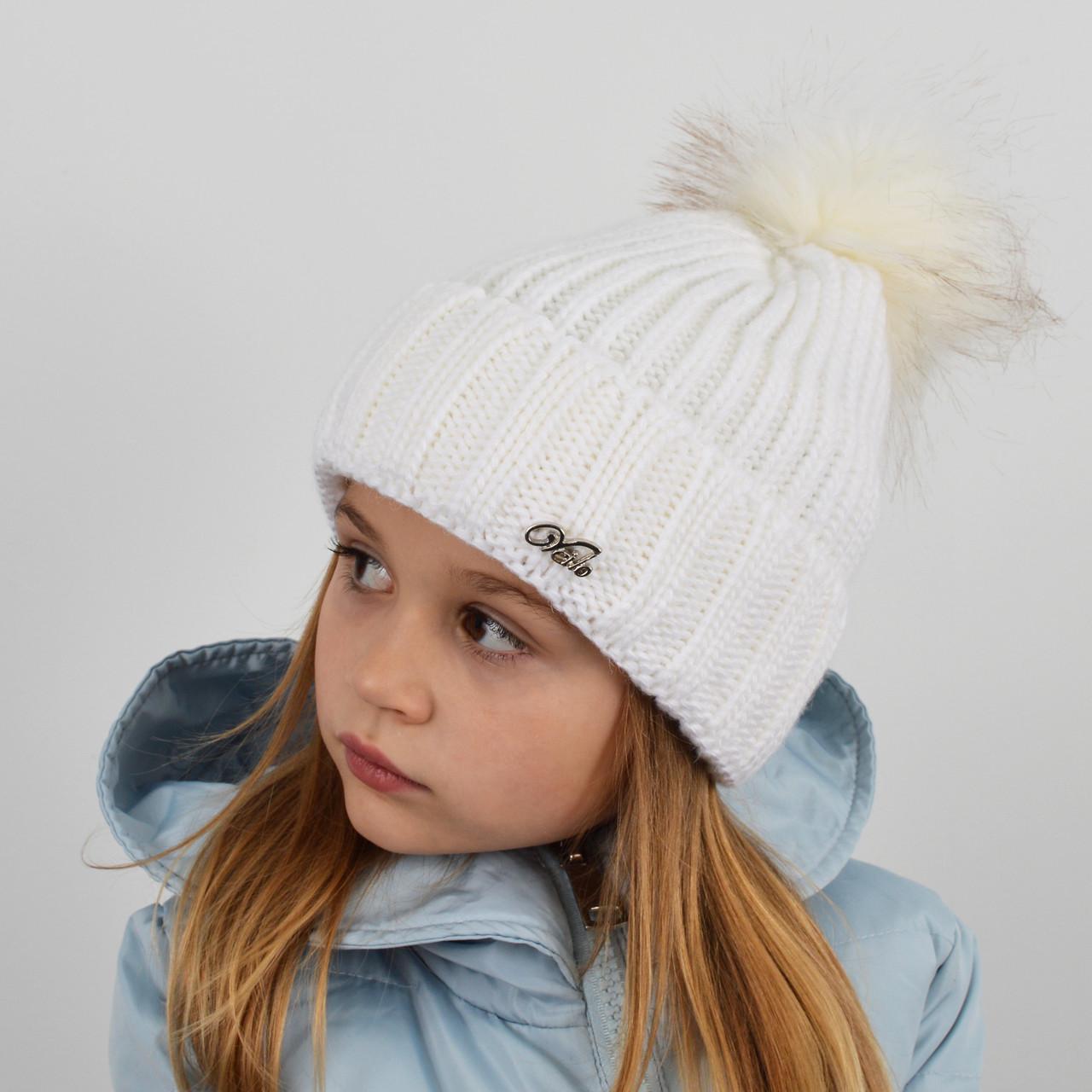 """Детская вязаная шапка с бубоном. """"Дорис"""" 3359 белый"""