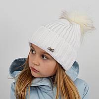 """Детская вязаная шапка с бубоном. """"Дорис"""" 3359 белый, фото 1"""