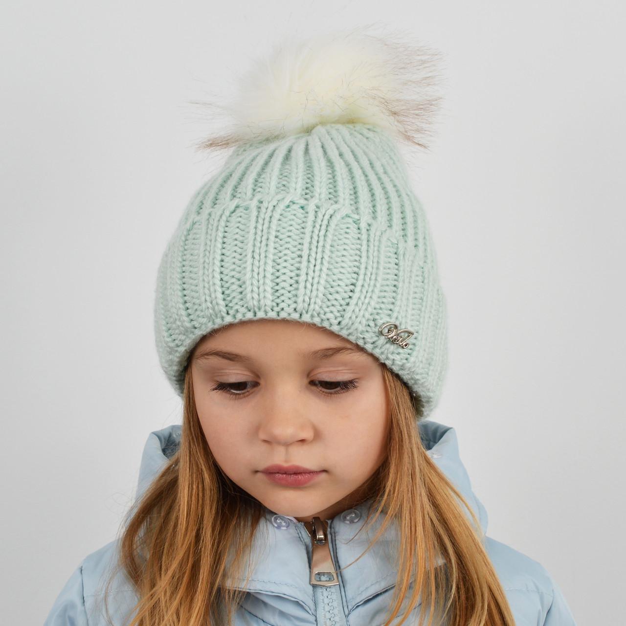 """Детская вязаная шапка с бубоном. """"Дорис"""" 3359 мята"""