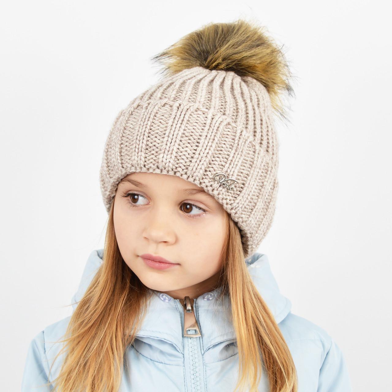 """Детская вязаная шапка с бубоном. """"Дорис"""" 3359 беж"""