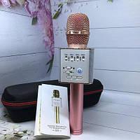 Беспроводной микрофон MicGeek Q9 (2 диамика + USB Bluetooth), чехол, Блютуз колонка / Караоке микрофон+подарок