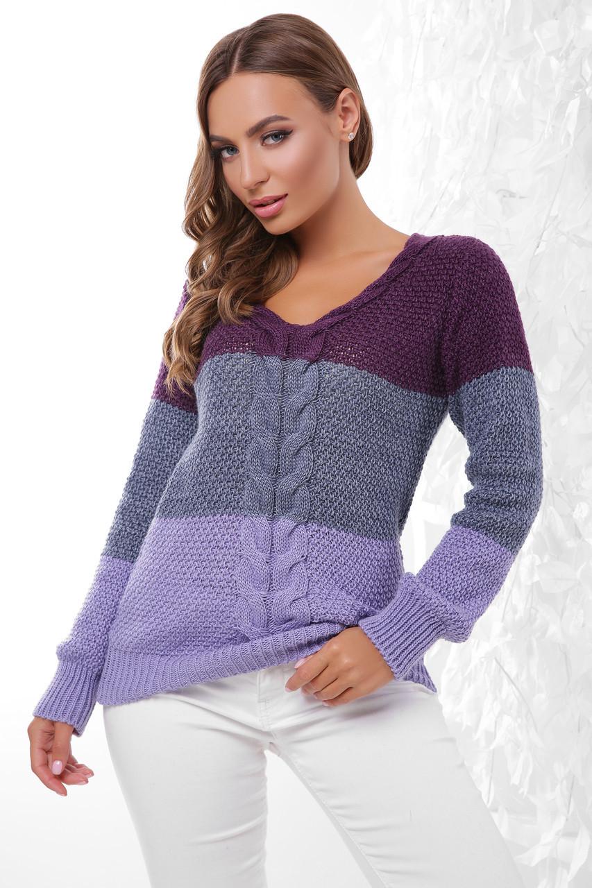 (S-L) В'язаний трьохколірний жіночий светр Orion, фіолетовий