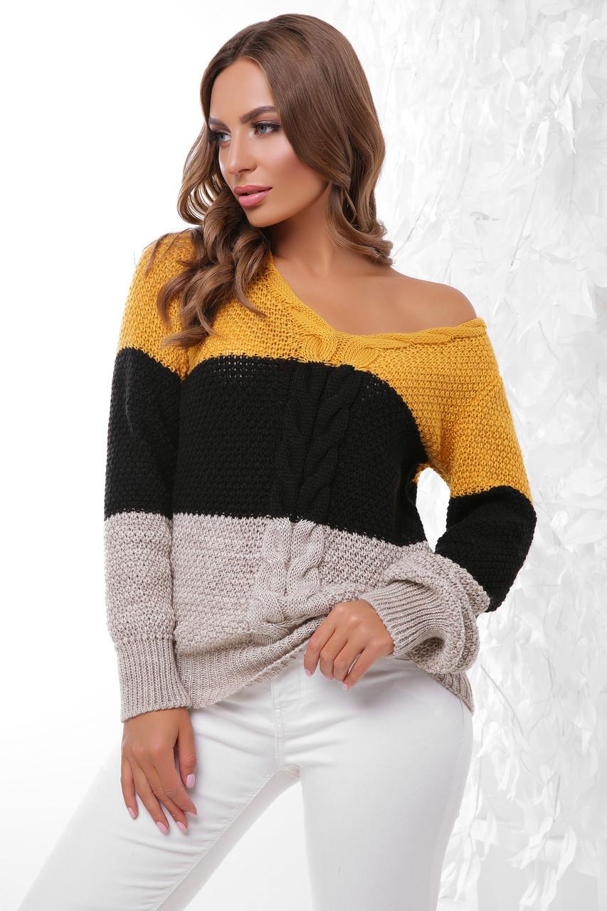 (S-L) В'язаний трьохколірний жіночий светр Orion, гірчично-бежевий