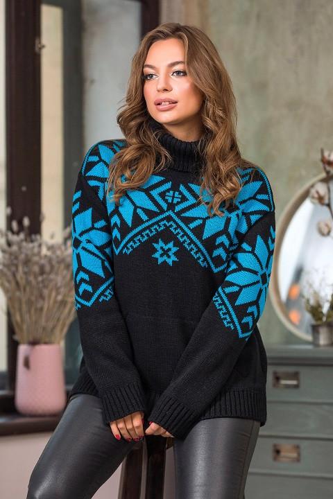 Модный вязаный свитер Снежка (черный, бирюза)(44-52)