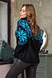 Модный вязаный свитер Снежка (черный, бирюза)(44-52), фото 2