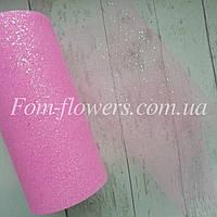 Фатин в мелкие блестки, 1м. Цвет Розовый