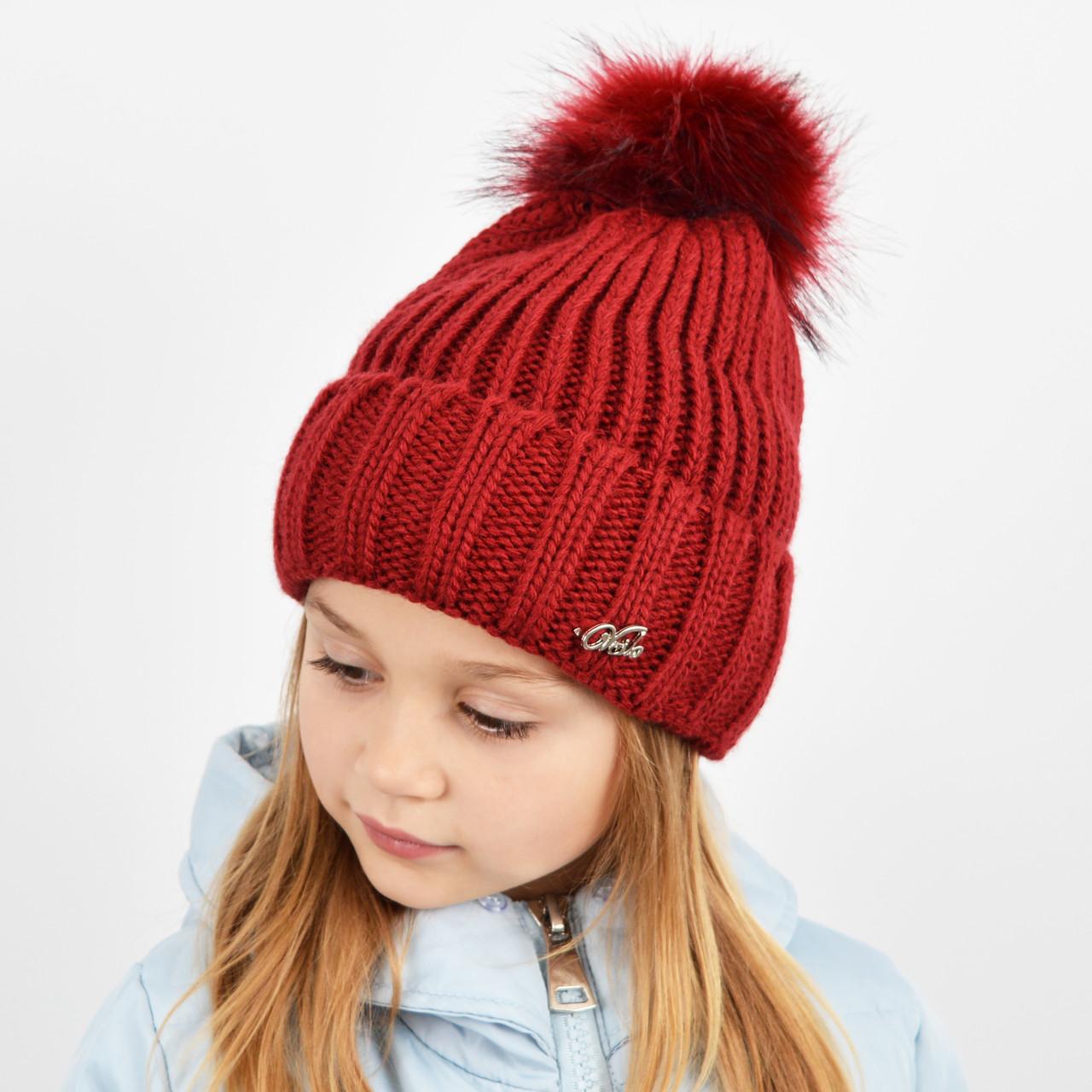 """Детская вязаная шапка с бубоном. """"Дорис"""" 3359 бордо"""