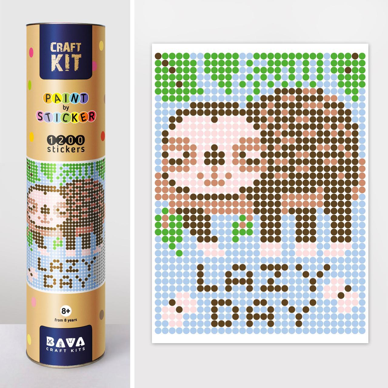 """*Картина по номерам стикерами в тубусе """"Ленивец"""", 33х48см, 1200 стикеров."""