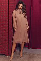 Женское красивое платье из шифона с длинным рукавом