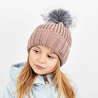 """Детская вязаная шапка с бубоном. """"Дорис"""" 3359 пудра, фото 1"""