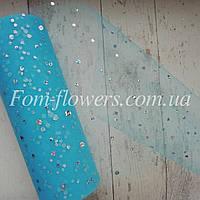 Фатин в крупные блестки, 1м. Цвет Голубой
