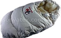 """Зимний пуховый конверт """"Alaska 2в1"""", от 0 до 12 мес. Подкладка - мех"""