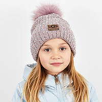 """Детская шапка с бубоном и люрексом. """"Брилиан"""" т.пудра, фото 1"""