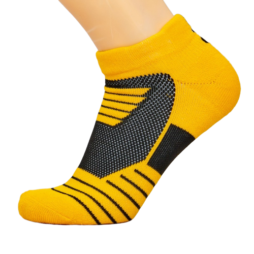 Носки баскетбольные спортивные р-р 40-45 нейлон-хлопок черно-желтые (DML7001)