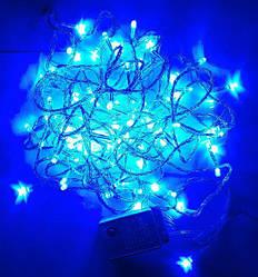 Гирлянда нить светодиодная 200 led, Синий, прозрачный провод, 16м.