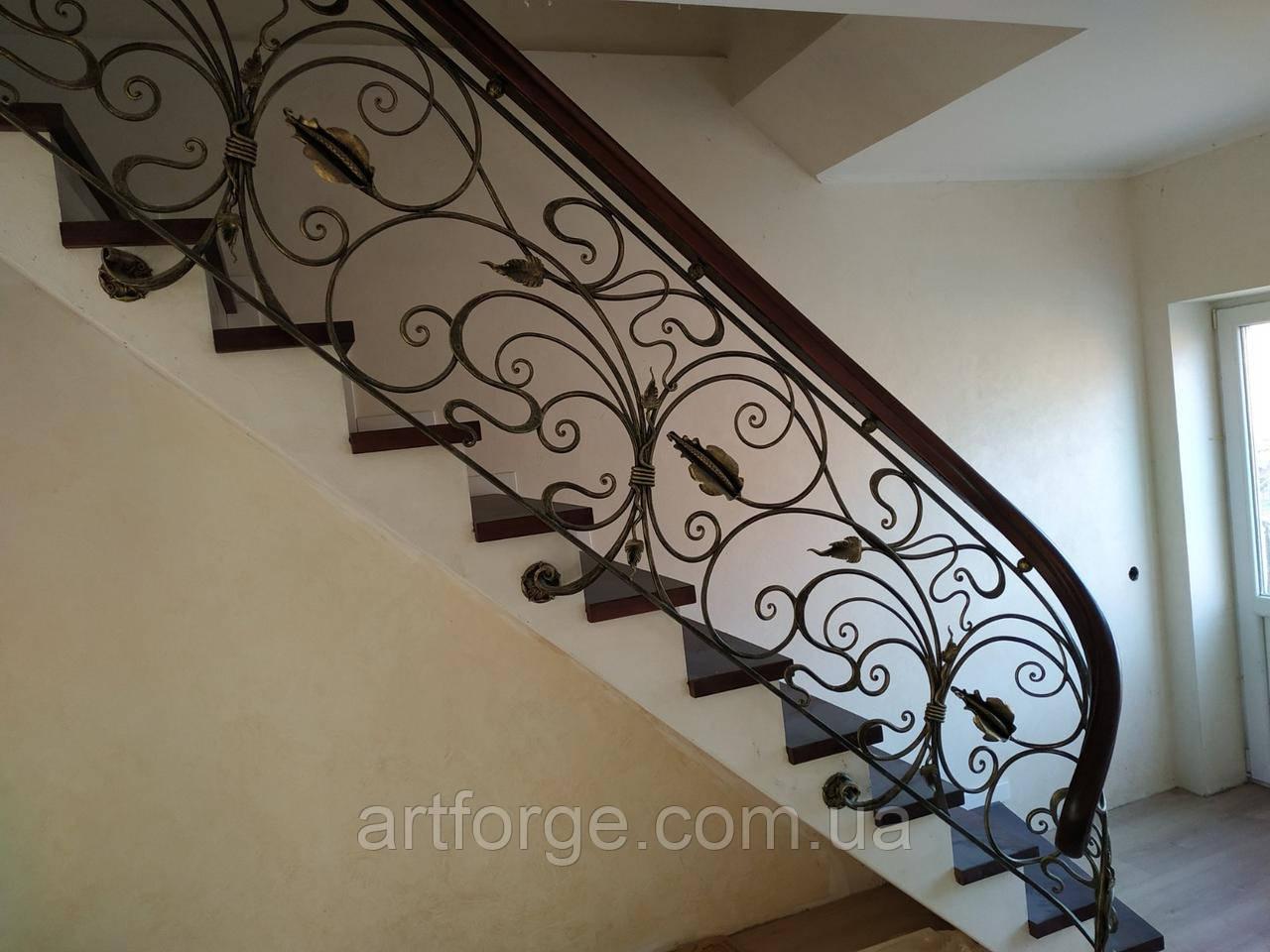 Ковані перила в стилі модерн. Огородження сходів Л-5001