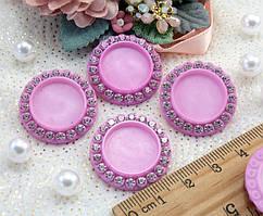 (10шт) Крышечки под кабошон Ø25мм (внутр Ø16мм) Цвет - Розовый