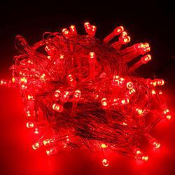 Гирлянда нить светодиодная 200 led, Красная, прозрачный провод, 16м.