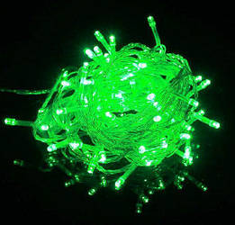 Гирлянда нить светодиодная 500 led, Зеленая, прозрачный провод, 30м.