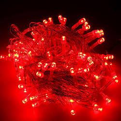 Гирлянда нить светодиодная 500 led, Красная, прозрачный провод, 30м.