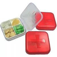Таблетница контейнер, 4 секции. Мини-аптечка