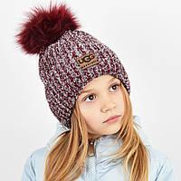"""Детская шапка с бубоном и люрексом. """"Брилиан"""" бордо, фото 1"""