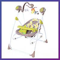 Детская колыбель-качели TILLY Nanny 3в1 BT-SC-0005 Green с пультом MOQ | Колиска-гойдалка Карело Нані