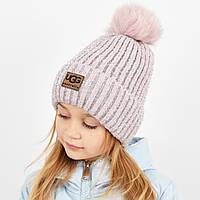 """Детская шапка с бубоном и люрексом. """"Брилиан"""" пудра, фото 1"""