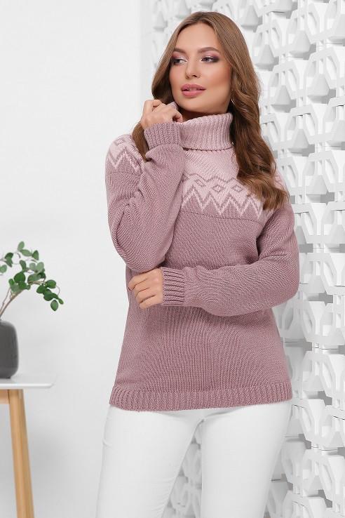 Теплый свитер под горло Миринда пудра-фрез (44-48)