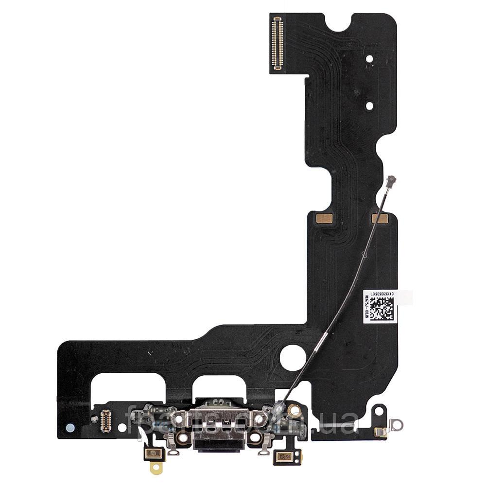 Шлейф iPhone 7 Plus, коннектор зарядки, микрофон, Black (Original PRC)
