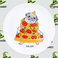 Дизайнерская тарелка Пицца - мопс