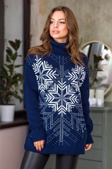 Модный вязаный свитер Сказка (синий, белый)(44-52)