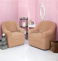 Чехол-накидка натяжной без оборки на кресло Venera медовый