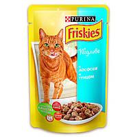 Влажный корм для кошек Friskies (Фрискис) с лососем підливка пауч, 100 г