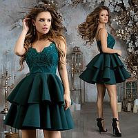 """Стильное нарядное женское платье мини с двухслойной юбкой """"Неопрен"""""""