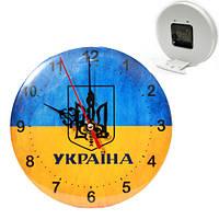 Патриотические часы настольные герб Украины