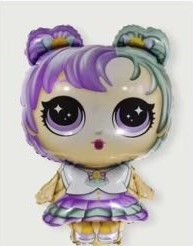Шар фигура пленка Кукла Лол  / LOL (разноцветные волосы)  (80 см)