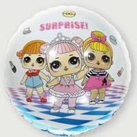 Шар фольгированный круглый Куклы Лол / LOL Сюрприз (три куколки) (45см)